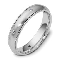 Designer Milgrain 14 Karat White Gold SPINNING Diamond Wedding Band