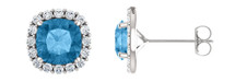 Genuine Sterling Silver Cushion CHOOSE YOUR STONE Halo Stud Earrings