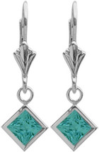 Genuine Sterling Silver CHOOSE YOUR STONE Square Leverback Gemstone Earrings