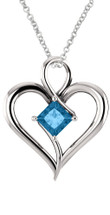 Genuine Sterling Silver 5 x 5mm CHOOSE YOUR STONE Heart Pendant