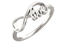 Genuine Sterling Silver Love Infinity Design Ring