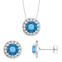Sterling Silver 6mm Round CHOOSE YOUR STONE Halo Pendant & Earring Set