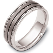 Designer 7mm Rope Style Titanium & Platinum Wedding Band