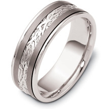 7mm Inscribed Titanium & Platinum Wedding Band Ring