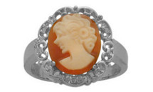 14 Karat White Gold Cornelian Shell Cameo Ring