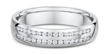 14 Karat White Gold Double Row Diamond Wedding Band Ring