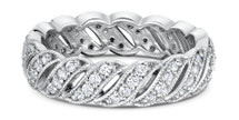 14 Karat White Gold Diamond Designer  Wedding Band Ring