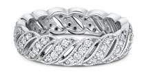 14 Karat White Gold Diamond Designer  Wedding Band Ring