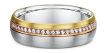 14 Karat Tri-Color Gold Diamond Wedding Band Ring
