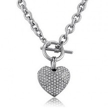 Ladies Pave Set 3D Heart Toggle Necklace