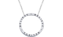 "Genuine Sterling Silver Slide ""BELIEVE"" Inspirational Circle Pendant"