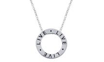 "Genuine Sterling Silver Slide ""LIVE"" Inspirational Circle Pendant"