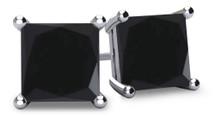 14 Karat White Gold Princess Cut Brilliant Certified BLACK Diamond Earrings