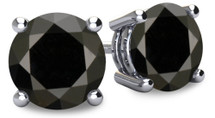 14 Karat White Gold Round Brilliant Cut Certified BLACK Diamond Earrings
