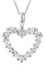 Genuine Sterling Silver Created White Sapphire Heart Pendant