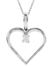 Genuine Sterling Silver Heart Diamond Pendant