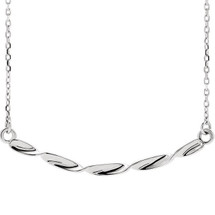Genuine Sterling Silver Twisted Ribbon Bar Necklace