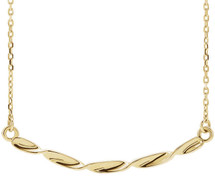 14 Karat Yellow Gold Twisted Ribbon Bar Necklace