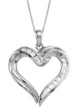 Created White Sapphire 14 Karat White Gold Heart Pendant
