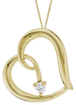 10 Karat Yellow Gold Diamond Heart Slide Pendant