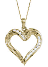 Created White Sapphire 10 Karat Yellow Gold Heart Pendant