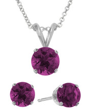 Sterling Silver 6mm SWAROVSKI® Elements Amethyst Solitaire Pendant & Earring Set