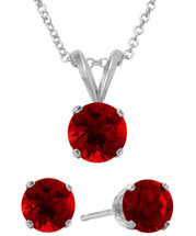 Sterling Silver 6mm SWAROVSKI® Elements Ruby Solitaire Pendant & Earring Set