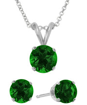 Sterling Silver 6mm SWAROVSKI® Elements Emerald Solitaire Pendant & Earring Set