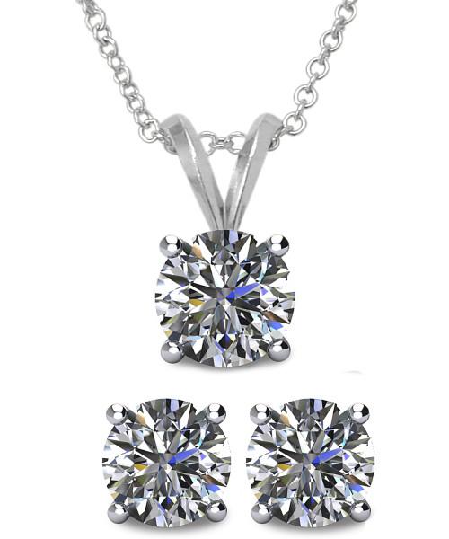 Sterling Silver Swarovski Elements Necklace /& Stud Earrings Set