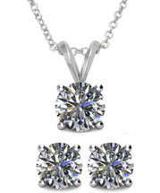 Sterling Silver 6mm SWAROVSKI® Elements Crystal Solitaire Pendant & Earring Set