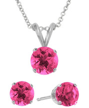 Sterling Silver 6mm SWAROVSKI® Elements Rose Solitaire Pendant & Earring Set