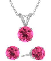 Sterling Silver 6mm SWAROVSKI® Elements Rose Solitaire Pendant & Earring Set