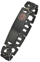 Titanium 12mm Link Medical ID Bracelet - Black Plated