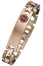 Titanium 12mm Link Medical ID Bracelet - Rose Gold Plated