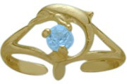 10 Karat Yellow Gold CHOOSE YOUR STONE Dolphin Toe Ring