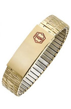 15mm Stainless Steel Expansion Medical ID Wristband - Yellow Gold Plated
