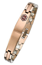 Stainless Steel Magnetic 9mm Link Medical ID Bracelet - Rose Gold Plated