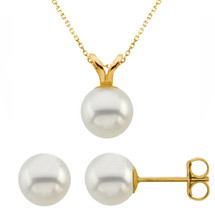 14 Karat Yellow Gold Cultured White Pearl Pendant & Earrings Set
