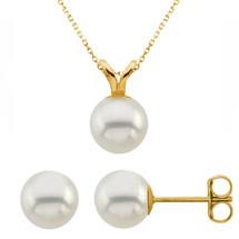 14 Karat Yellow Gold Cultured White Pearl Pendant & Earrings Set