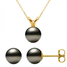 14 Karat Yellow Gold Cultured Black Pearl Pendant & Earrings Set