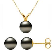 14 Karat Yellow Gold Cultured Black Pearl Pendant & Earrings Set