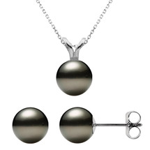 14 Karat White Gold Cultured Black Pearl Pendant & Earrings Set