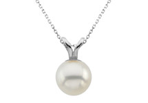 14 Karat White Gold Cultured White Pearl Pendant