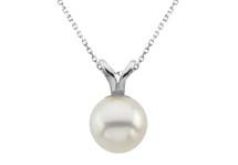 14 Karat White Gold Cultured White Pearl Pendant
