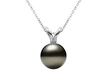 14 Karat White Gold Cultured Black Pearl Pendant