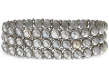 Sterling Silver Freshwater Cultured Grey Pearl 3 Row Stretch Bracelet