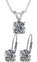 Silver 6mm SWAROVSKI® Elements Crystal Pendant & Leverback Earrings Set