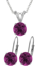 Silver 6mm SWAROVSKI® Elements Amethyst Pendant & Leverback Earrings Set