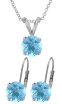 Silver 6mm SWAROVSKI® Elements Aquamarine Pendant & Leverback Earrings Set