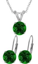 Silver 6mm SWAROVSKI® Elements Emerald Pendant & Leverback Earrings Set